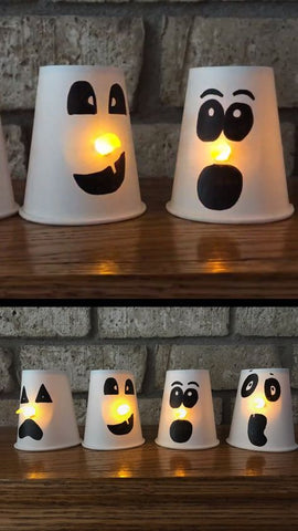 DIY Paper Cup Light Up Ghosts for Kids