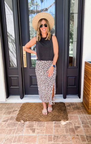 Backyard BBQ outfit ideas with maxi skirt and tank top.