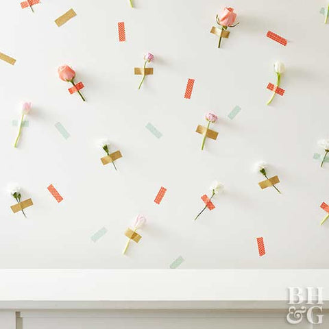 Easy Easter Decorating Floral Wall with Washi Tape and Flowers