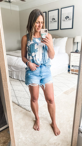 Backyard BBQ outfit ideas with cutoff denim shorts and summer tank top.