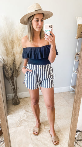 Backyard BBQ Outfit Ideas with bodysuit and striped shorts