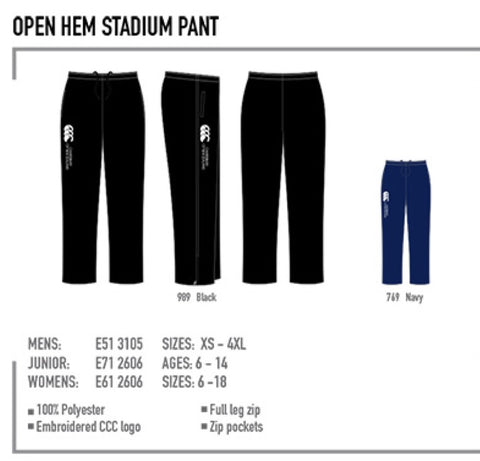 Canterbury Open hem  Stadium Pant - Senior - Navy only