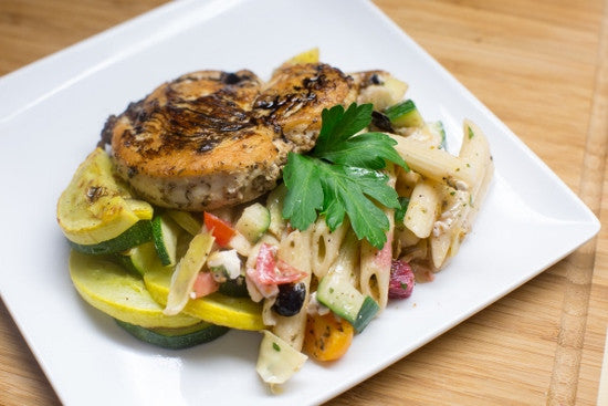 Balsamic Grilled Chicken with Zucchini and Squash and Pasta Salad