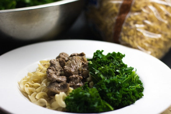 Beef Tip Stroganoff with Wilted Kale