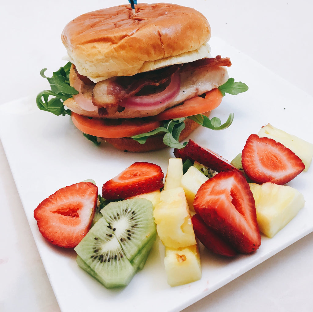 Grilled Chicken Club with Seasonal Fruit