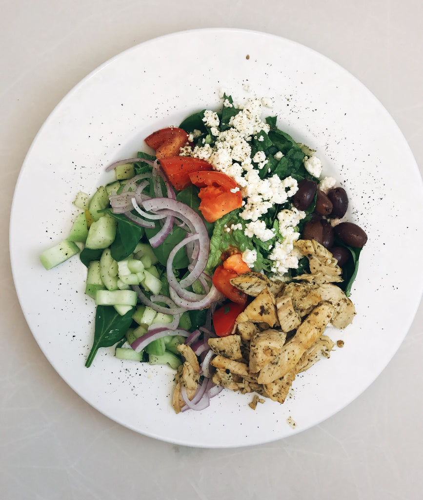 Greek Salad with Pesto Chicken