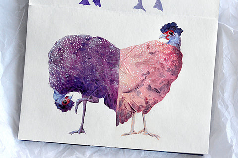 Illustration of a pink and purple guinea fowl