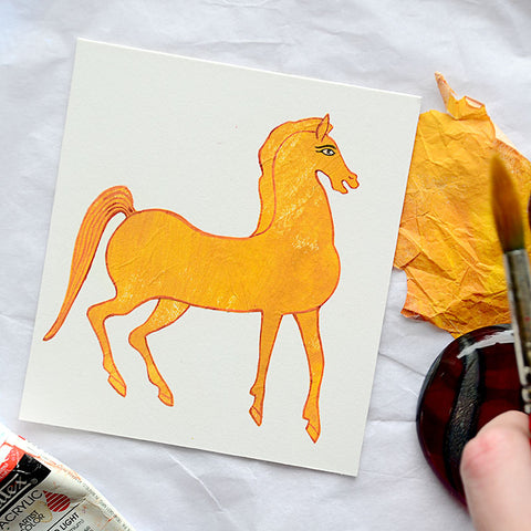 Illustration of horse inspired by ancient Egyptian art