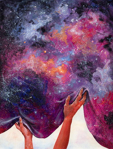 Women's hands lifting the starry night sky like a curtain