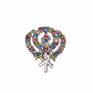 BRCH1301 Khanda Brooch Pin With  Small Coloured pearls