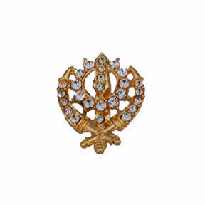 BRCH1302 Khanda Brooch Pin With  Small pearls