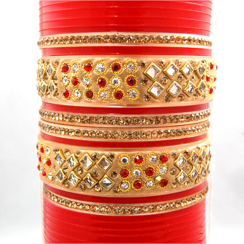 CHURA1303 Bridal Kundan Churra  Red & Gold