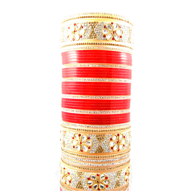CHURA1304 Kundan Flower Churra Red & Gold