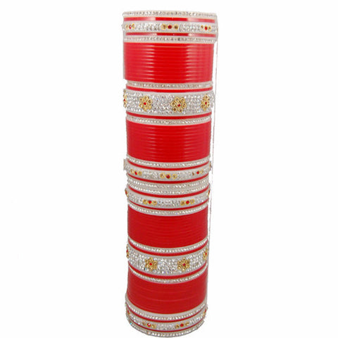 CHURA1305 Bridal Churra Red & Silver with Golden Flowers