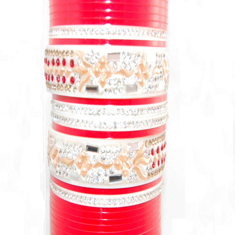 CHURA1307 Bridal Churra Red & Silver