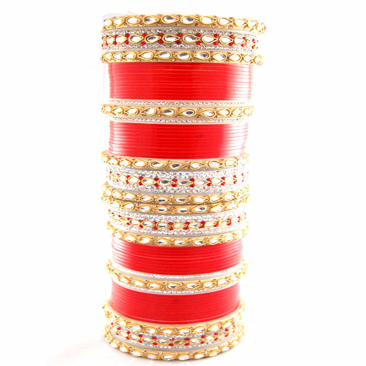 CHURA1312 Kundan Churra Red,Silver & Gold
