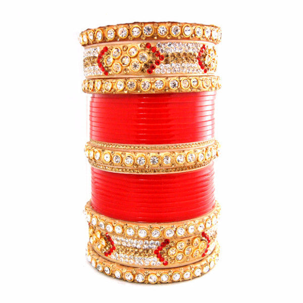 CHURA1314 Large Kundan Churra Red & Gold
