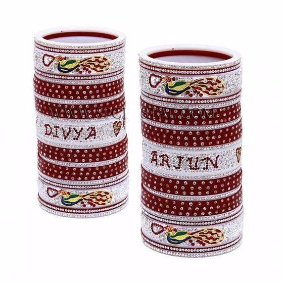 CHURA1322 Maroon Churra/White Stones with Name