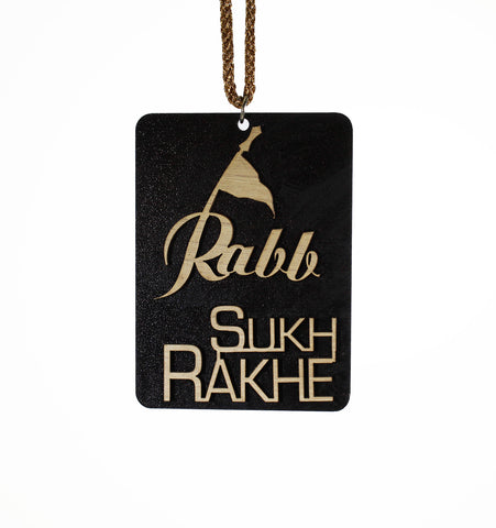 """RABB SUKH RAKHE"" - 3d Wood Hanging, Great as Car Hanging - CWH13008"