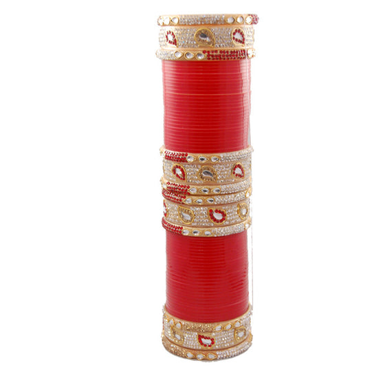 CHURA1308 Ambi Kundan Churra Red & Gold