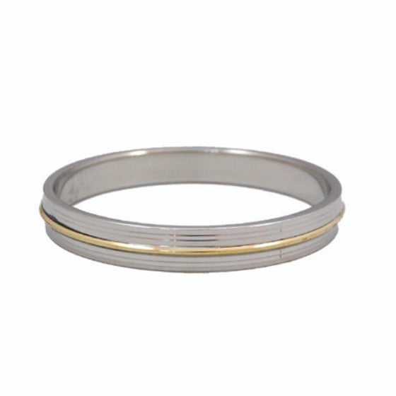 KRA1304 Designer Six Line Steel kara with Golden Line