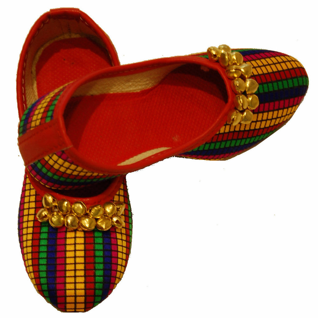 P-JUTI1357 Punjabi Jutti with  Multicolor & Ghungro (Girls)