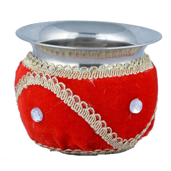 W-GRVI1302 Wedding Garvi with Red Velvet Cloth & Silver Stone