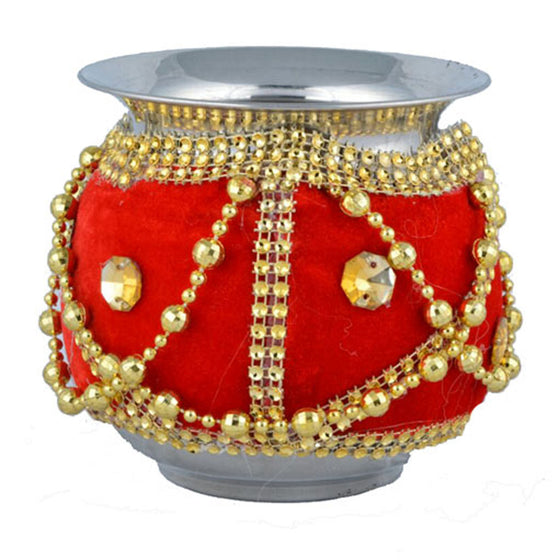 W-GRVI1303 Wedding Garvi with Red Velvet Cloth & Golden Pearls/Stones