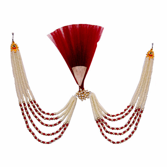KALGI1301 Red Kalgi With Red & Golden Beads