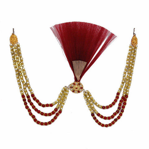 KALGI1304 Red Kalgi With Red & Golden Beads
