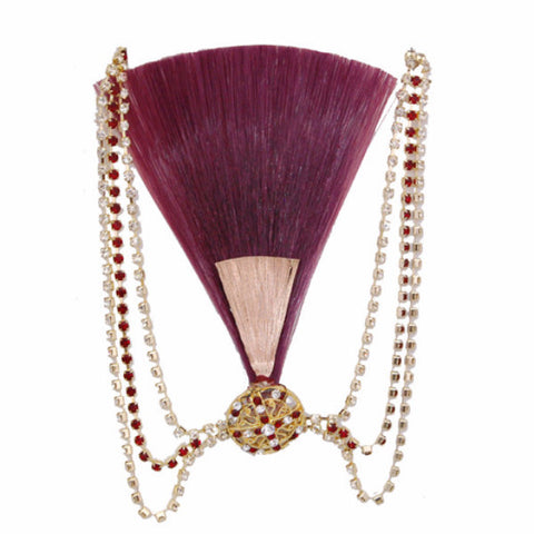 KALGI1303 Red/Golden Kalgi With Red & Silver Stones