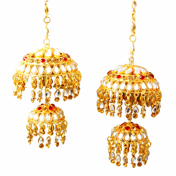 KLRA1304 Bridal Kalira  Golden With Silver Pearls