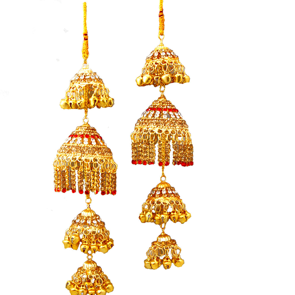 KLRA1306 Golden Kalira Red & Silver Pearls With Ghungru