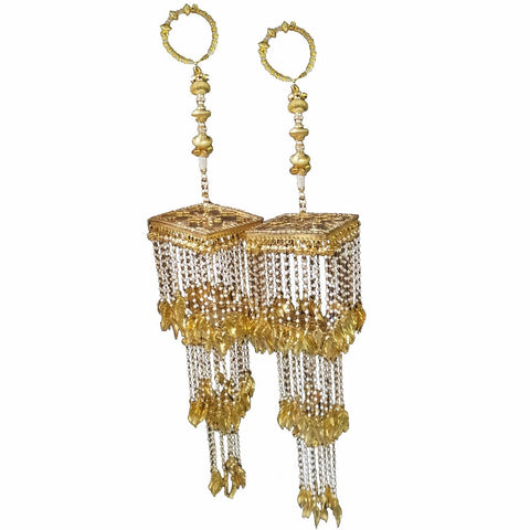 KLRA1323 Bridal Kalira Golden with Metal Beads