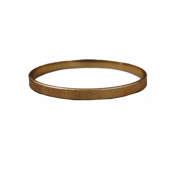 KRA1330 Classic Golden round Kara with Small Khanda's (Kids)