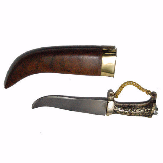 KRPN1367-Steel Metal Kirpan With Wooden Body & Chain