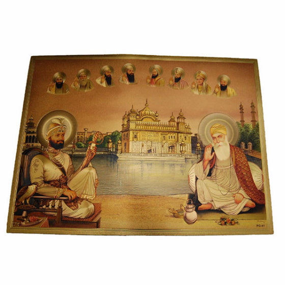 PSTR1301 Poster of Ten Guru's with Harmandir Sahib