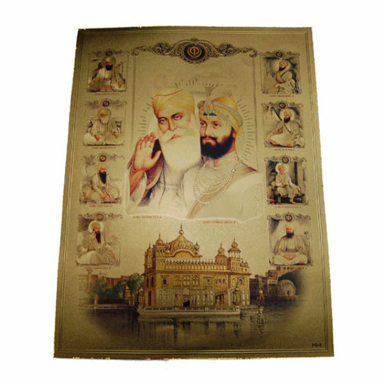 PSTR1303 Poster of Ten Guru's with  Harmandir Sahib