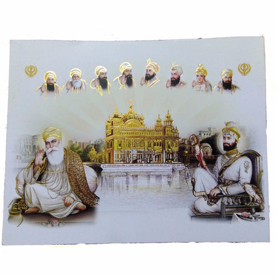 PSTR1326 Poster of Ten Guru's with  Harmandir Sahib