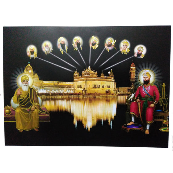PSTR1327 Poster of Ten Guru's with  Harmandir Sahib