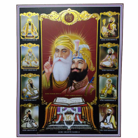 PSTR1330 Poster of Ten Guru's with  Harmandir Sahib
