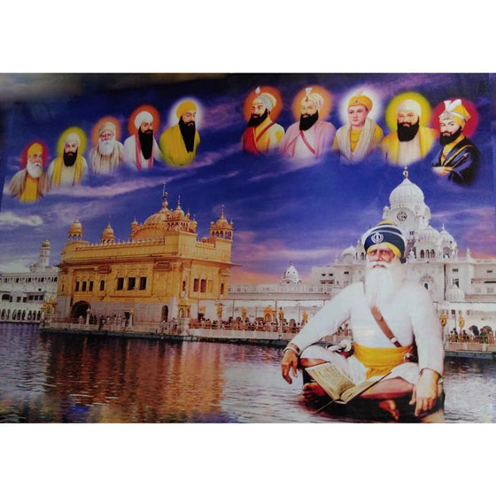 C-DIG1301 Picture of Ten Guru's &  Harmandir Sahib with Baba Deep Singh ji
