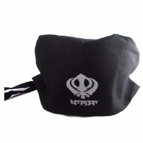 T-BND1301 Plain Black Bandana with  Khanda