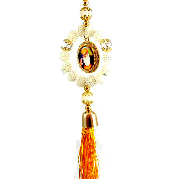 R-CAR1307 Round Beaded Pearl Car Hanging