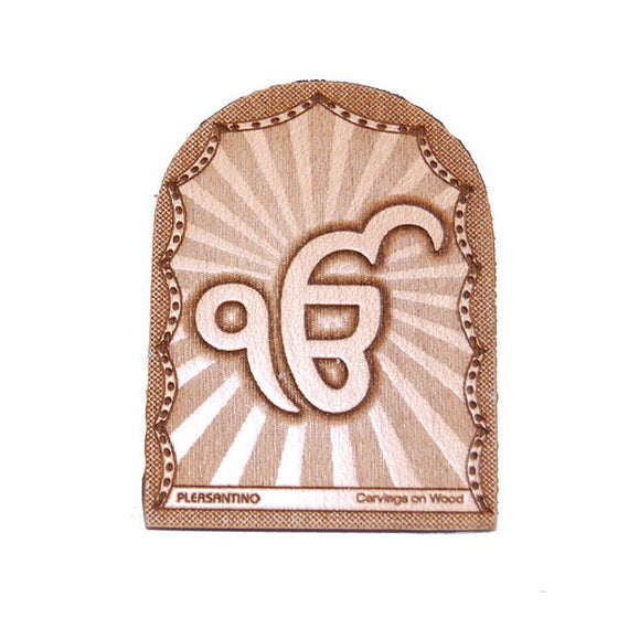 R-DSK1043 Ek Onkar Engraved Wooden Stand for desk or car