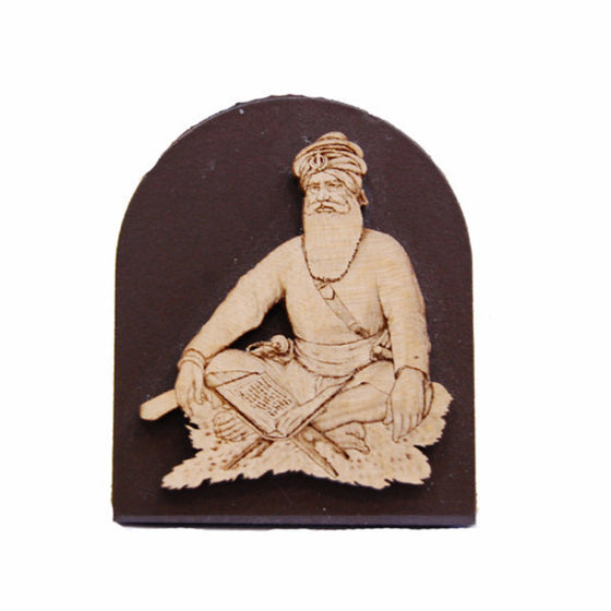 R-DSK1046  Baba Deep Singh Ji Model on Wooden Base for Dashboard or Desk