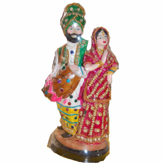 STCHU1309 Statue of Sardar & Sardarni with Dhol