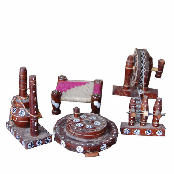 T-GDS1305 Set of Traditional Decorative Goods  (Charkha,Chakki,Peerha,Chaatti)