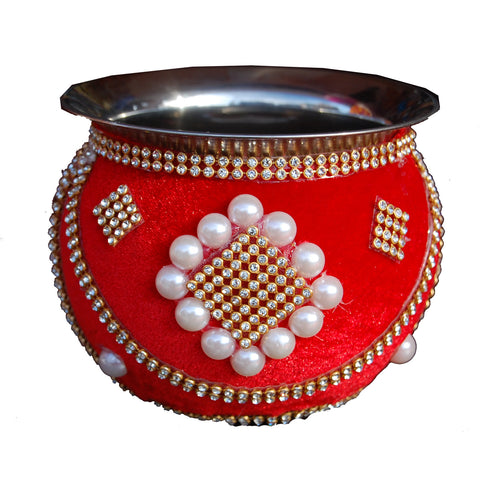W-GRVI1308 Wedding Garvi with Red Velvet Cloth, White Moti & Stones