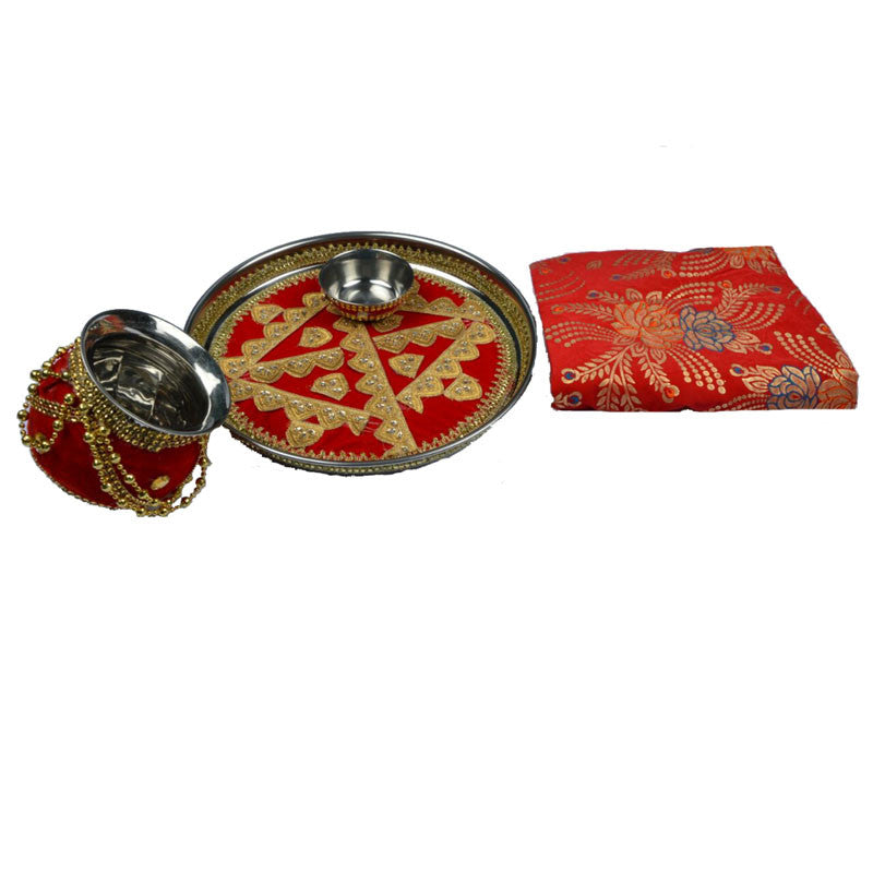W-THAL1315 Wedding Shagun Thaal 4Pieces Set Combo